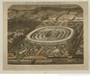 Palais de l'Exposition Universelle de 1867 : [estampe], Mathis J. illustrateur, source Gallica.bnf.fr