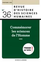 Revue d'histoire des sciences humaines : Commémorer les sciences de l'Homme